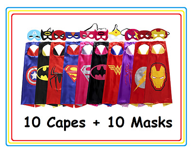 New Kids Superhero Ten Capes & Mask Costume Set For Birthday and Party Favors