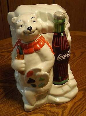Coca Cola Polar Bear Artist w/Paint Pallet Cookie Jar 2000