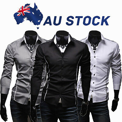 AU Mens Casual Shirts Dress Shirt Slim Fit Long Sleeve Business Shirt Formal Top