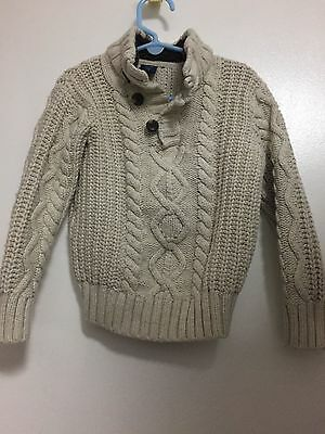 Baby Gap Boys Sherpa Collared Cable Knit Sweater 4T