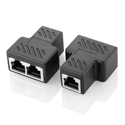 1 to 2 LAN Ethernet Network RJ45 Splitter Extender Plugs Adapter Connector