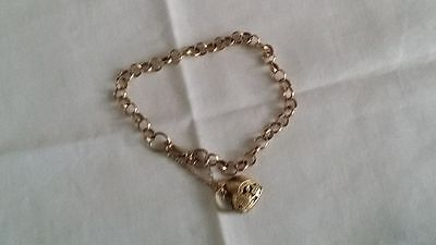 VINTAGE GENUINE 9CT YELLOW GOLD 375 BELCHER HEART PADLOCK BRACELET 11.5g