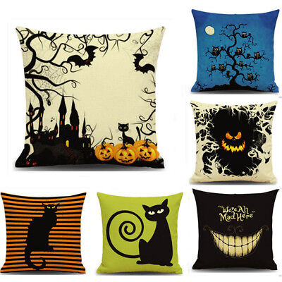 Halloween Party Cat Home Sofa Decoration Throw Linen Pillow Case Cushion Cover