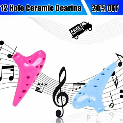 QIMEI 12 Hole Ocarina Ceramic Treble C Legend of Ocarina Musical Instrument AU