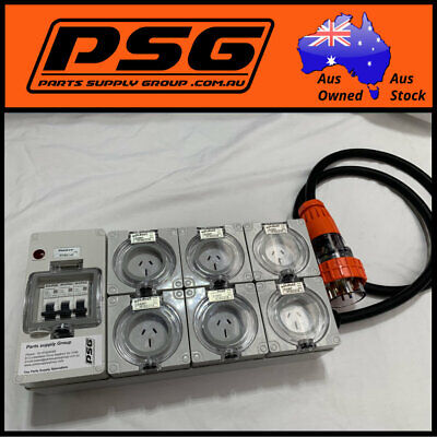 Portable Power board 32 Amp 3 phase 5 pin supply to 6 x 240v 15 Amp RCBO outlets
