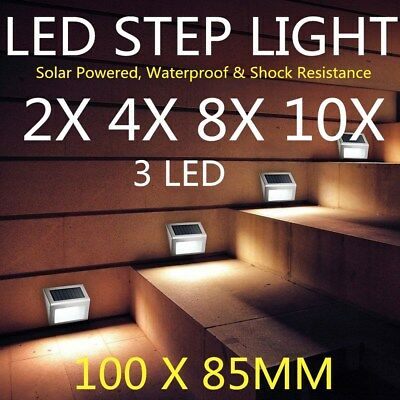 4/8/10X Outdoor Solar Powered LED Garden Stair Step Light Stainless Wall Pathway