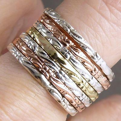 3-TONE 7 Hoops Stack Size US 11 SilverSari Solid 925 Stg Silver, Brass, Copper