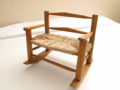 Antique Pine Primitive Hand Made Aafa Small Doll Size Bench Rocker Rocking  Chair