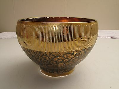 Ornate Gold Pattern Leaves Cased Glass Bowl Nice Elegant Shape And Look
