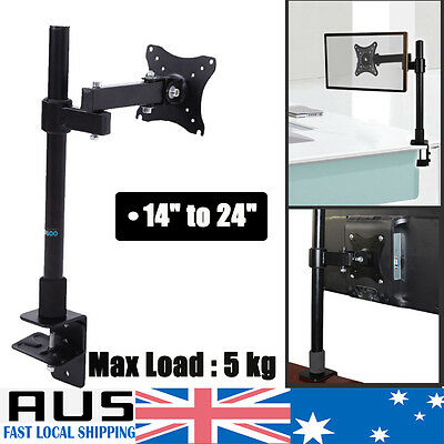"13-27"" Swivel Single Arm Monitor LED LCD Screen Dispaly Bracket Stand Desk Mount"