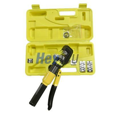10 Ton 70mm² Hydraulic Wire Terminal Crimper Crimping Tool Pliers Kit w/ 9 Dies
