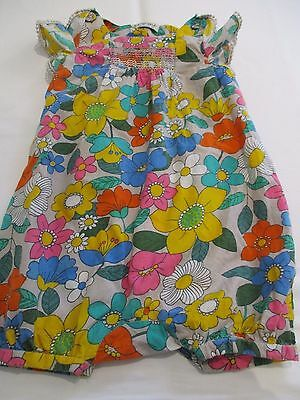 NEXT PRETTY COLOURFUL FLOWER PRINT ALL IN ONE COTTON PLAYSUIT DRESS AGE 18 - 24m