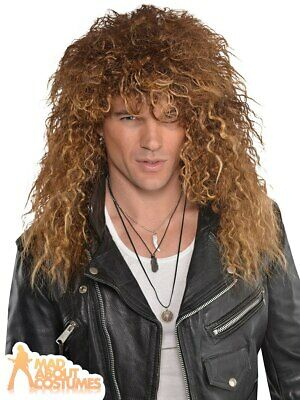Mens Glam Rock Wig Bon Jovi 1980s Punk Fancy Dress Accessory