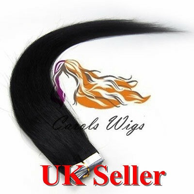 8A* Best Quality 18'' Tape-In Jet Black Russian Remy Human Hair Extensions UK