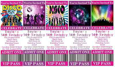 DISCO Personalised Ticket Style Birthday Invitations