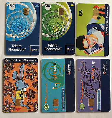 Phonecards Telstra Australia Blue Green Circles Cyber Snail Techno Pup Rabbit