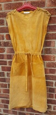 Vintage buttersoft tan suede drawstring midi mid dress 12