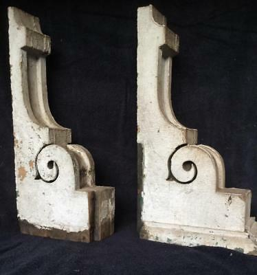 Antique pr Wood Corbels Chippy White Victorian Architectural Salvage Shabby Chic