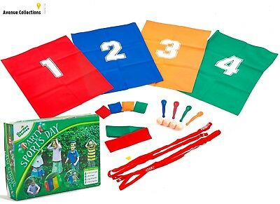 Garden Party Sports Day Set with Sack Race, 3 Legged Race,Egg and Spoon Race new