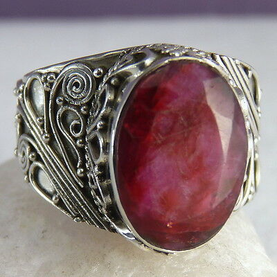 Filigree Vintage Ring US 8 Ornate SILVERSARI Solid 925 Stg Silver + INDIAN RUBY