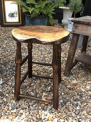 Ash Topped Saddle Stool Brass Foot rail Cobbler Work Stool Bar Hut Seating