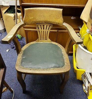 Edwardian captains chair, original leather seat, solid oak, nouveau design