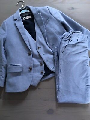 H&M Young Boys Blue Suit Wedding Christening Special Occasion