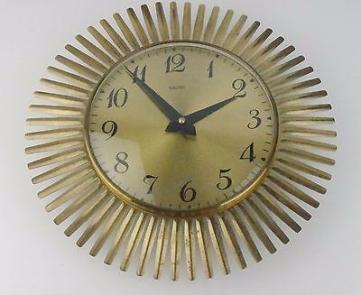 Vintage Messing Sun Burst Star Burst Wanduhr Sunburst Clock brass Messing