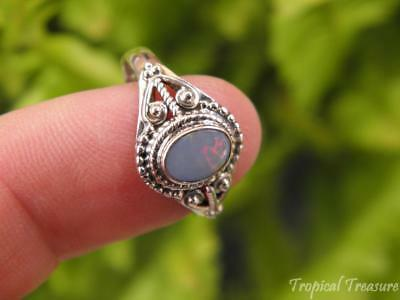 Australian Opal & 925 SOLID Silver RING (Size 8 1/2, Q 1/2)    #52114