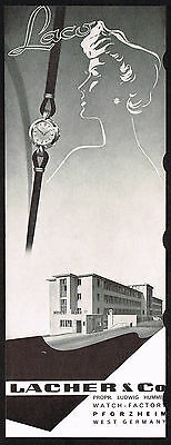 1950's Vintage 1955 Lacher Watch Co. Laco Factory Building - Paper Print AD
