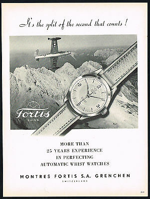 1950's Vintage 1953 Fortis Jubile Automat Wrist Watch Airplane Photo Print AD