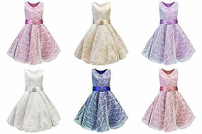 Girls V-Neck Lace Wedding Party Bridesmaid Princess Dance Prom Dresses