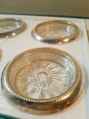 W & S Blackinton Company Crystal and Silver Coaster Ashtray Set