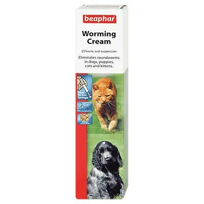 Beaphar Roundworm Worming Cream Puppy Kitten Dog Cat Wormer Oral Treatment 18g