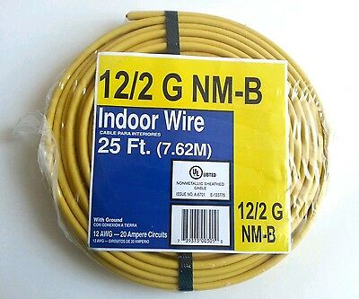 25' ft roll 12/2 NM-B w/Ground Indoor ELECTRICAL WIRE Cable coil (NEW)
