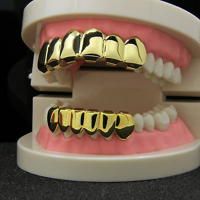 1Set Custom Fit 14k Gold Plated Hip Hop Teeth Grillz Caps Top & Bottom Grill Toy