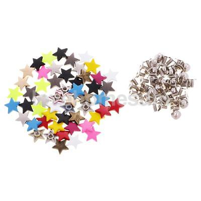 50 Sets Star Rivet Studs Spots Spikes DIY Leather Craft Clothing Shoes Decor