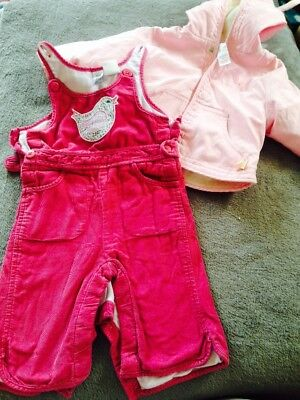 Baby Girls 3-6mths Baby Gap Pink Dungarees/Romper & Hooded Jacket Bundle