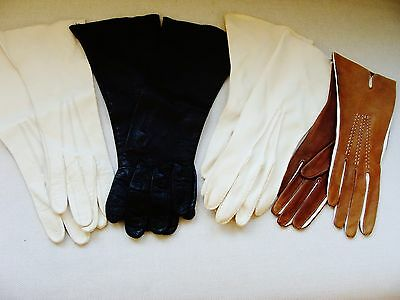 4 Pairs Vintage Ladies Leather Gloves