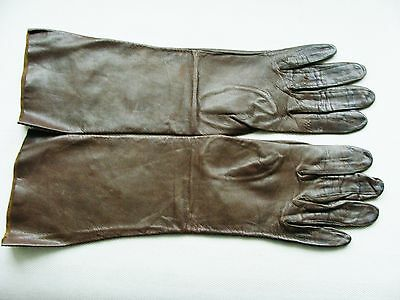 Vintage Brown Genuine Soft Kid Leather Ladies Gloves