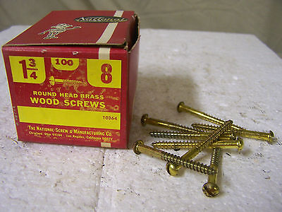 "#8 x 1 3/4"" Brass Wood Screws Solid Brass Round Head Slotted Made in USA Qty.100"