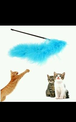 Cat/kitten toy feather dangler with bell. Blue. Fun play exercise New. UK seller