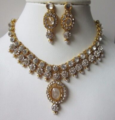 Kids Size Indian Bollywood Fashion Jewellery Necklace Set - Gold And White Stone