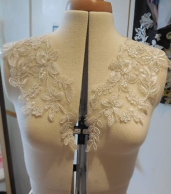 A Pair of dark ivory floral sequined lace collar appliques bolero lace motifs