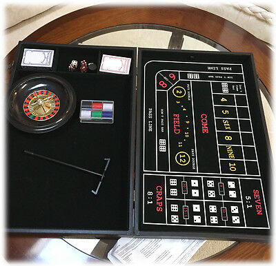 4 in 1 Casino Game Trademark Global Roulette Craps Poker & Black Jack Carry Case