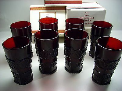 Vintage Avon 1876 Cape Cod Tall Beverage Glass Tumblers Ruby Red Set 8 New Box