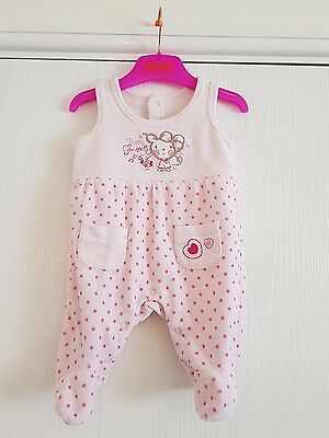 Baby Girl Pink Velour Romper Outfit Size Newborn