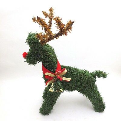 Vintage Christmas Deer Decoration Topiary Reindeer Bell Holiday 70s 80s Green