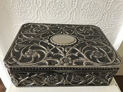 Vintage Quality Gorgeous Ornate Silver Plated Jewellery Box - 24cm By 18cm