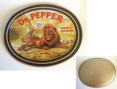 Dr. Pepper 1979 Metal Tin Lion King of Beverages Oval Serving Tray Fabcraft USA